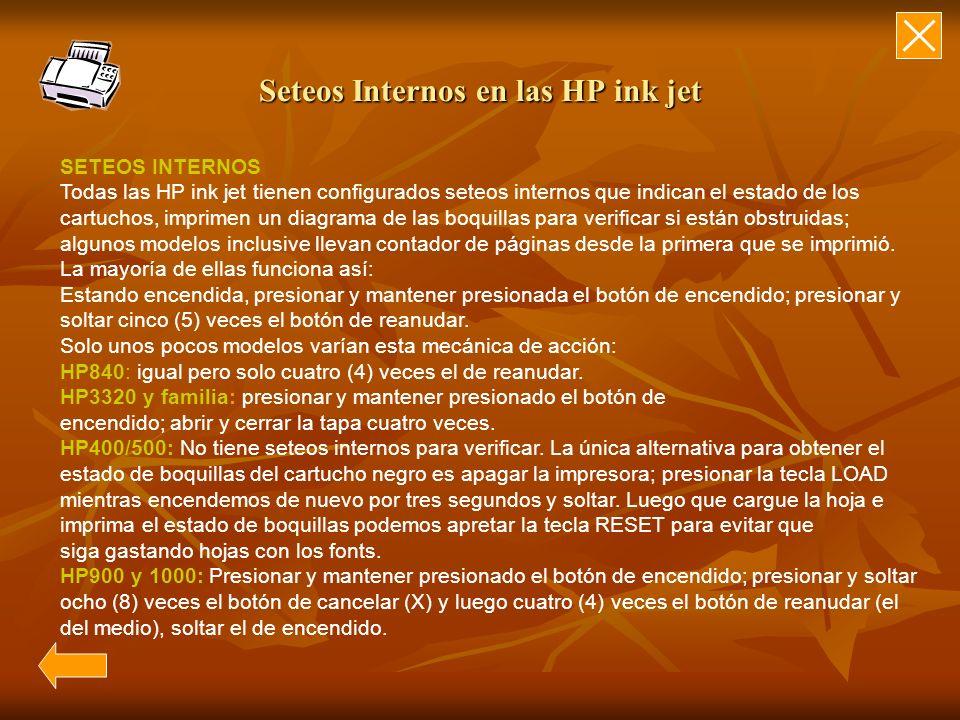 Seteos Internos en las HP ink jet