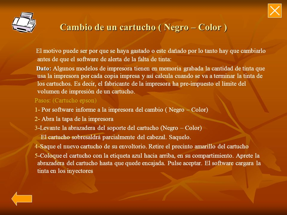 Cambio de un cartucho ( Negro – Color )