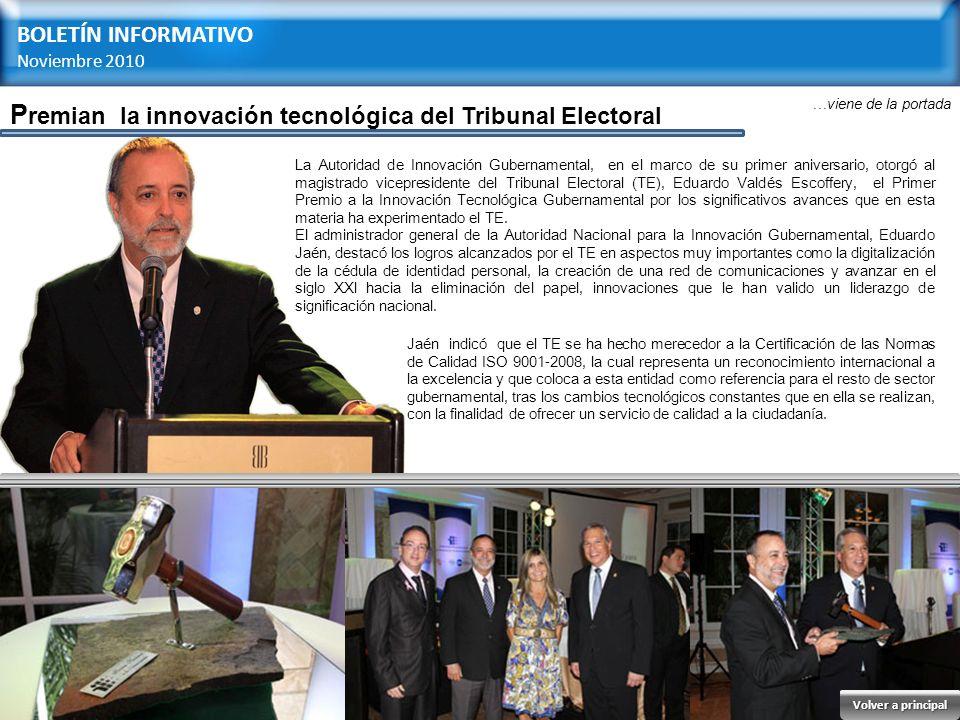 Premian la innovación tecnológica del Tribunal Electoral