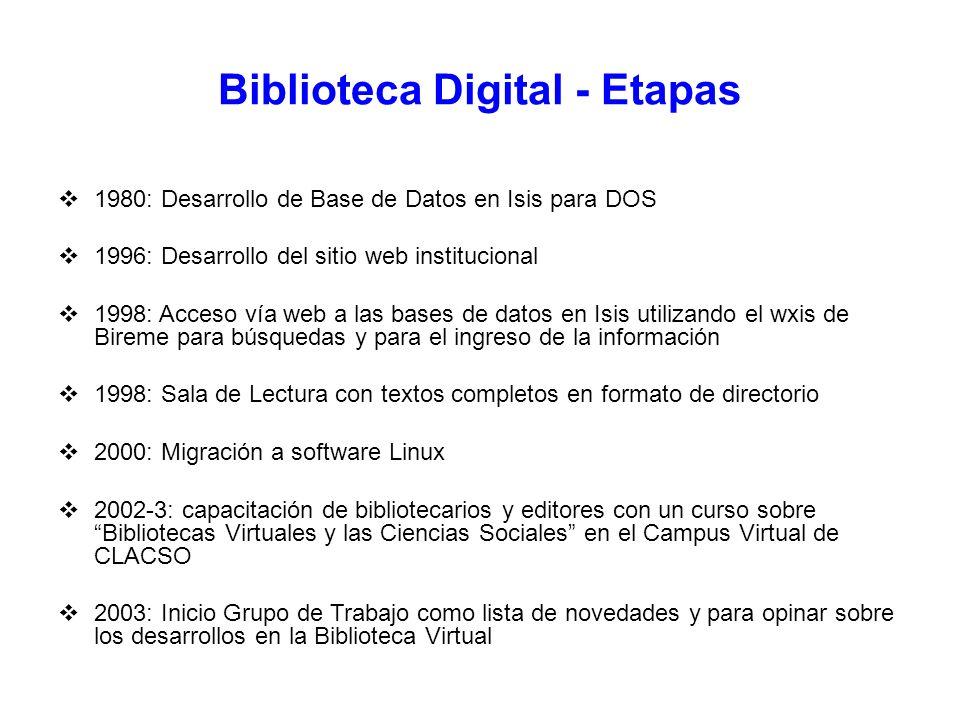 Biblioteca Digital - Etapas