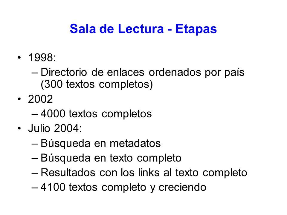 Sala de Lectura - Etapas