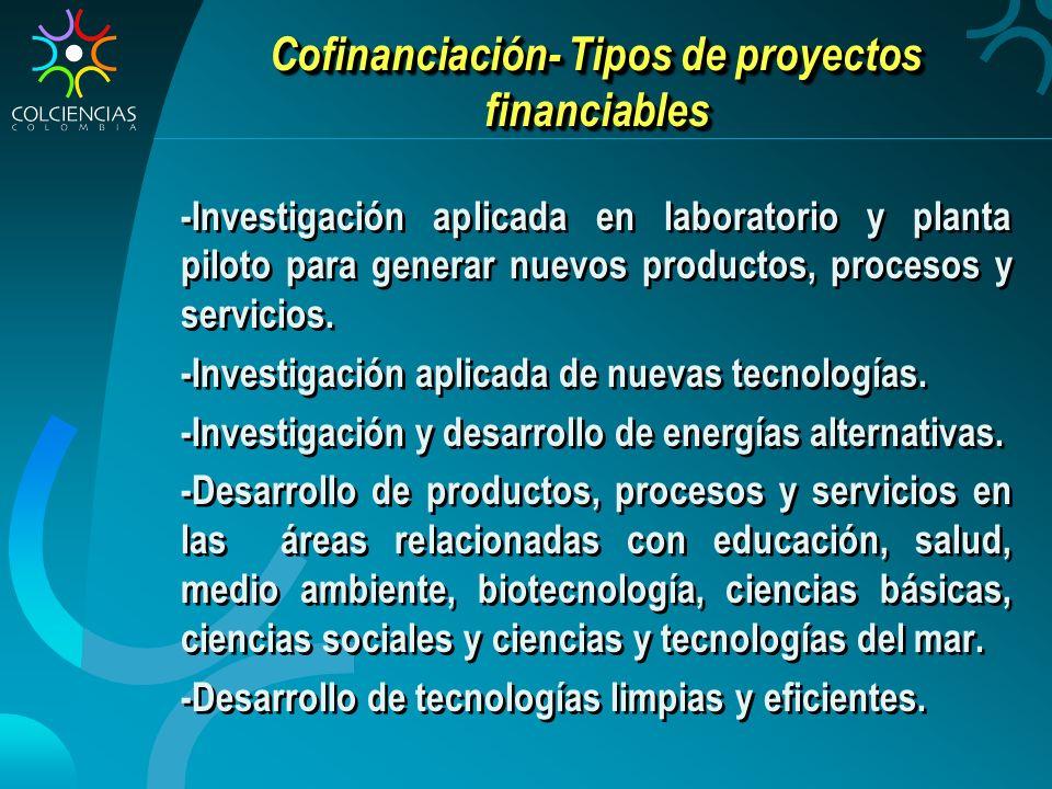 Cofinanciación- Tipos de proyectos financiables
