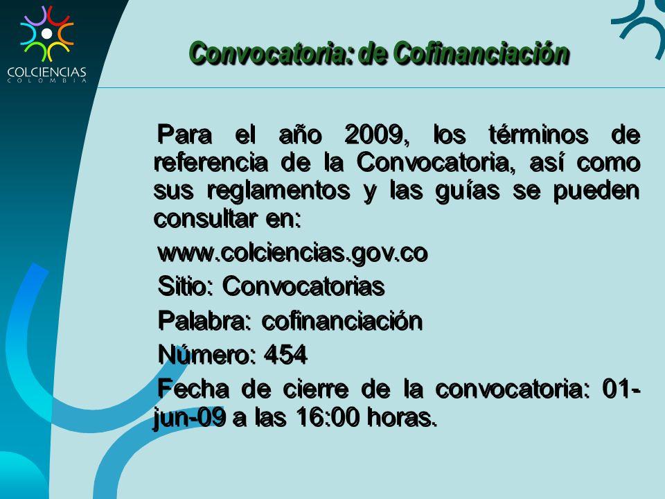 Convocatoria: de Cofinanciación