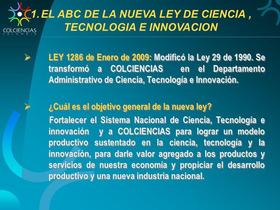 EL ABC DE LA NUEVA LEY DE CIENCIA , TECNOLOGIA E INNOVACION