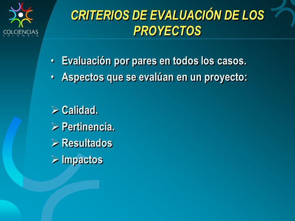 CRITERIOS DE EVALUACIÓN DE LOS PROYECTOS
