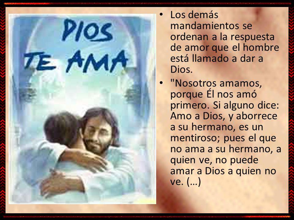 Los demás mandamientos se ordenan a la respuesta de amor que el hombre está llamado a dar a Dios.