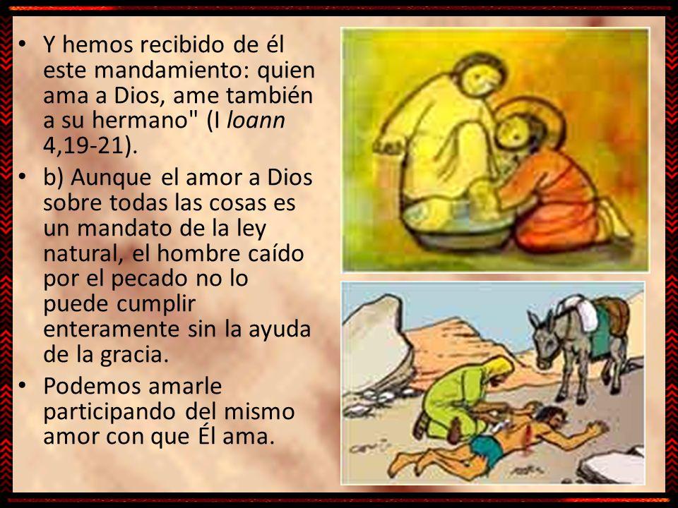 Y hemos recibido de él este mandamiento: quien ama a Dios, ame también a su hermano (I loann 4,19-21).