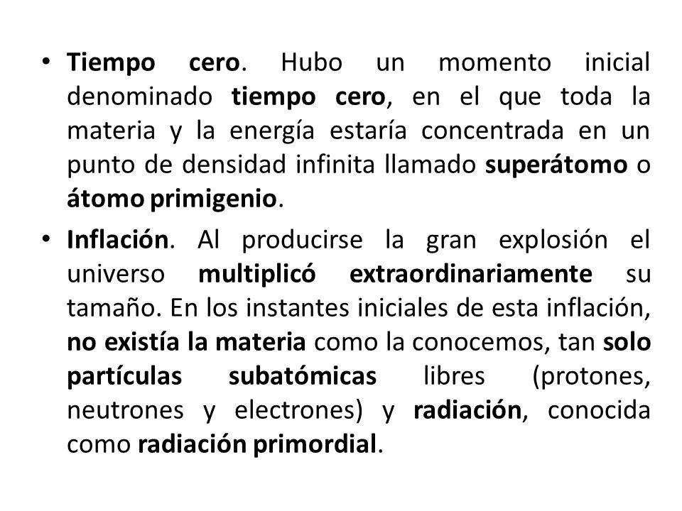 Tiempo cero. Hubo un momento inicial denominado tiempo cero, en el que toda la materia y la energía estaría concentrada en un punto de densidad infinita llamado superátomo o átomo primigenio.