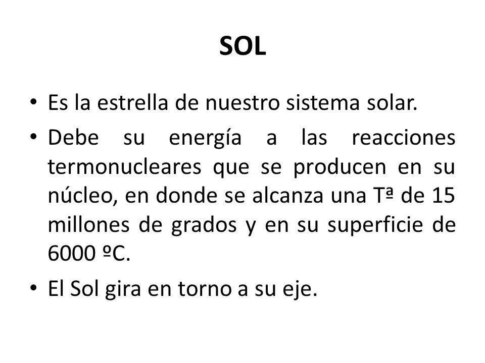 SOL Es la estrella de nuestro sistema solar.