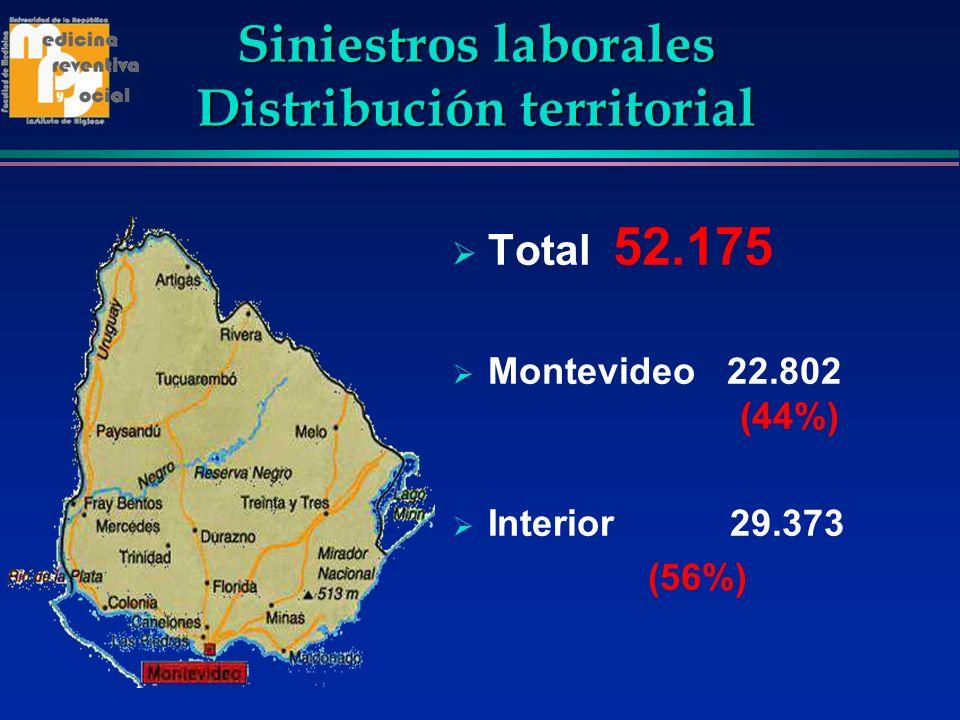 Siniestros laborales Distribución territorial