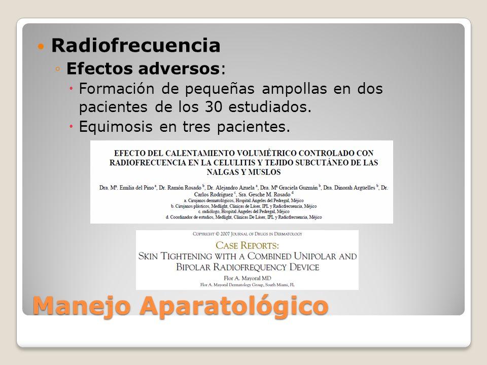 Manejo Aparatológico Radiofrecuencia Efectos adversos: