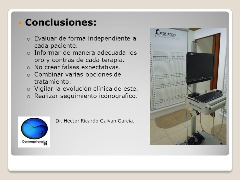 Conclusiones: Evaluar de forma independiente a cada paciente.