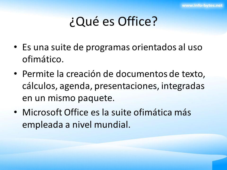 ¿Qué es Office Es una suite de programas orientados al uso ofimático.