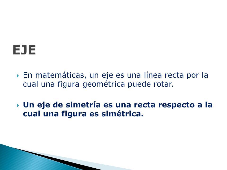 EJE En matemáticas, un eje es una línea recta por la cual una figura geométrica puede rotar.
