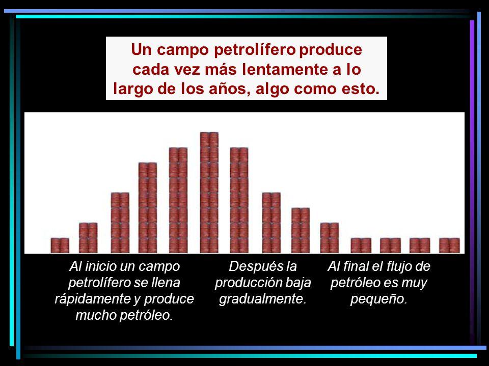 Un campo petrolífero produce cada vez más lentamente a lo largo de los años, algo como esto.