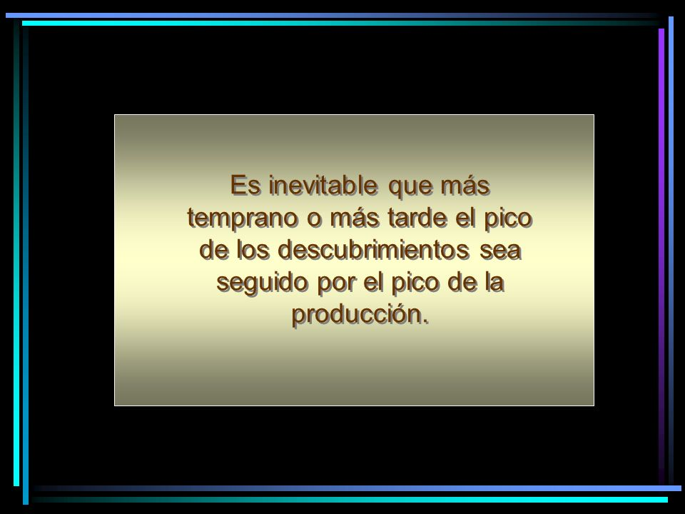 Es inevitable que más temprano o más tarde el pico de los descubrimientos sea seguido por el pico de la producción.