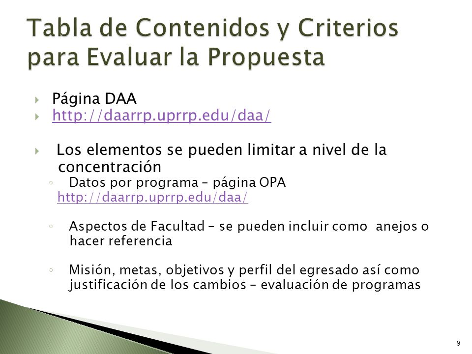 Tabla de Contenidos y Criterios para Evaluar la Propuesta