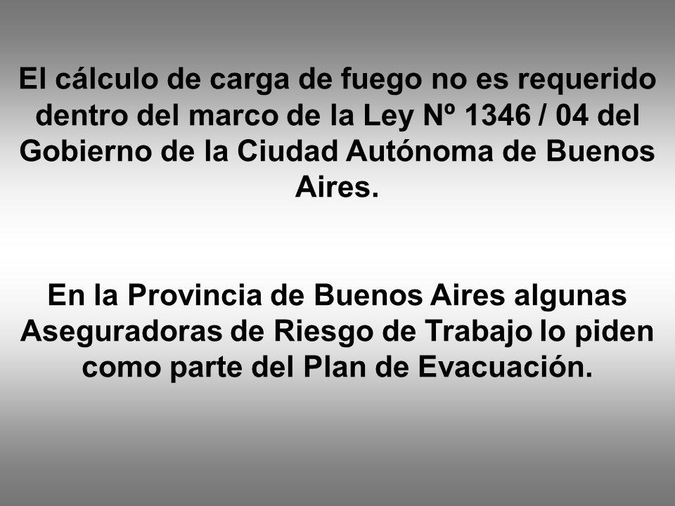 El cálculo de carga de fuego no es requerido dentro del marco de la Ley Nº 1346 / 04 del Gobierno de la Ciudad Autónoma de Buenos Aires.