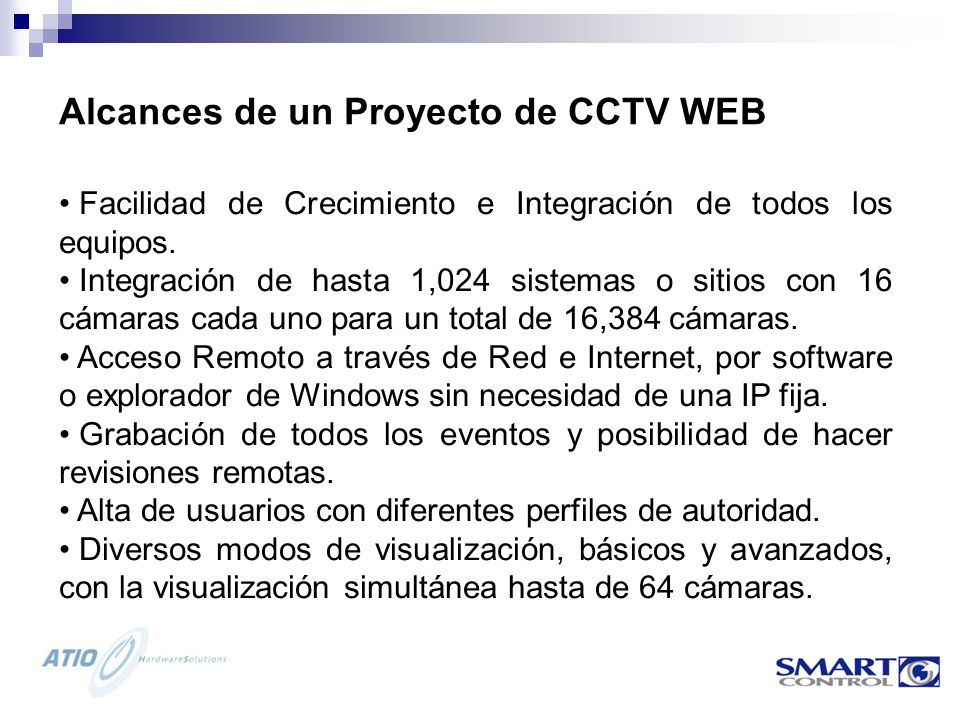 Alcances de un Proyecto de CCTV WEB