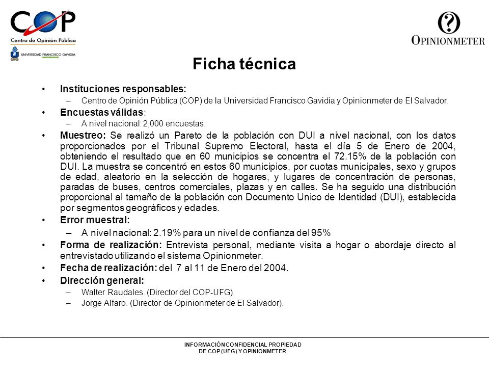 Ficha técnica Instituciones responsables: Encuestas válidas: