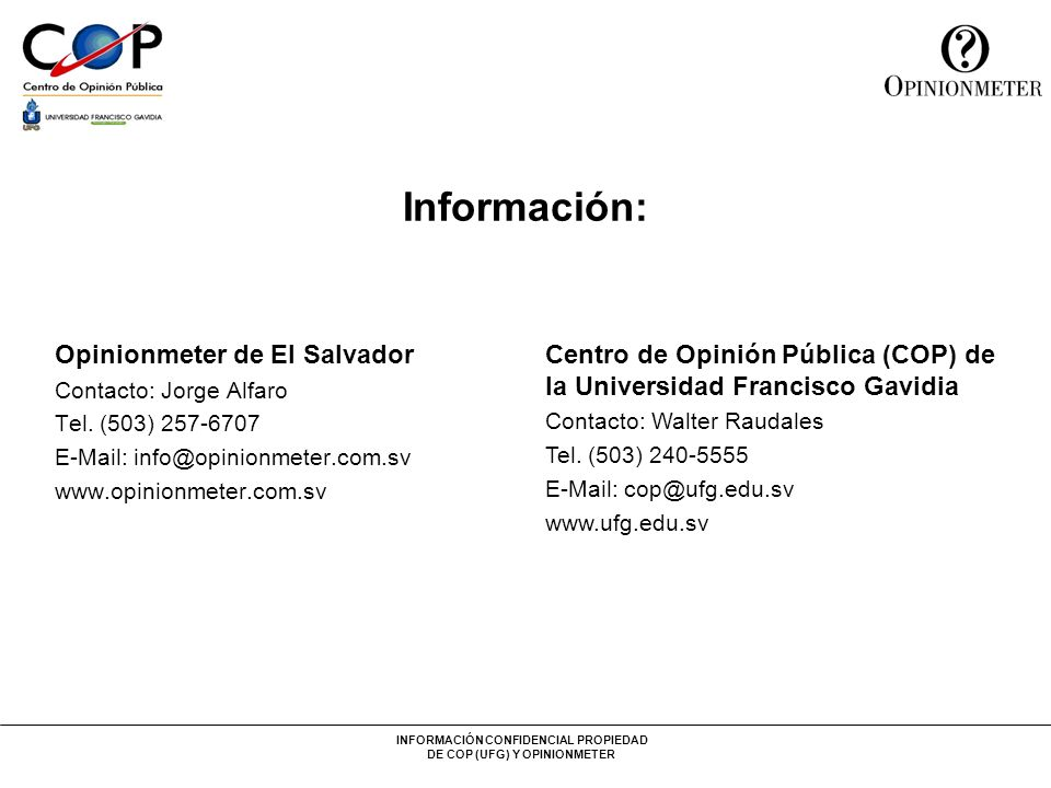 Información: Opinionmeter de El Salvador