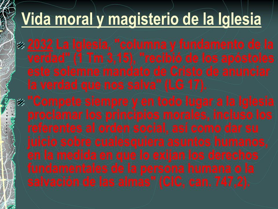 Vida moral y magisterio de la Iglesia