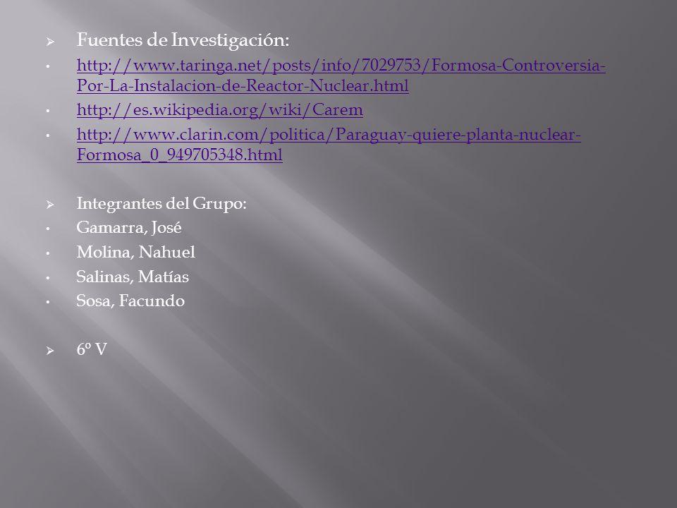 Fuentes de Investigación: