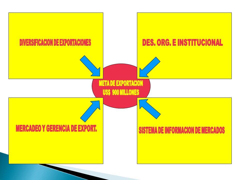 DIVERSIFICACION DE EXPORTACIONES DES. ORG. E INSTITUCIONAL