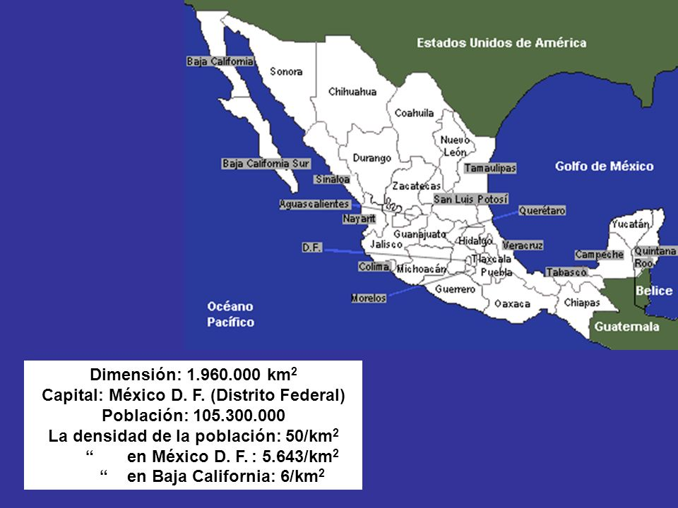 La densidad de la población: 50/km2 en Baja California: 6/km2