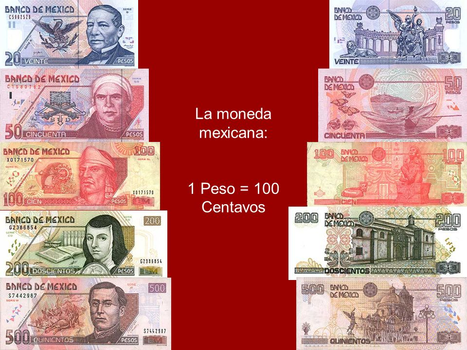 La moneda mexicana: 1 Peso = 100 Centavos