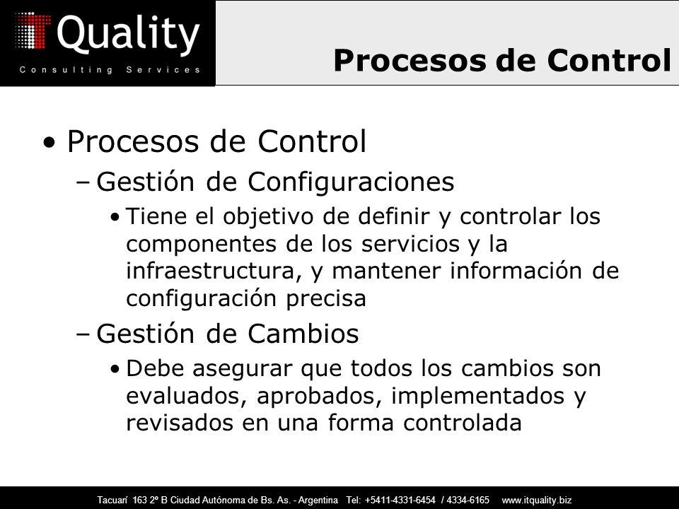 Procesos de Control Procesos de Control Gestión de Configuraciones