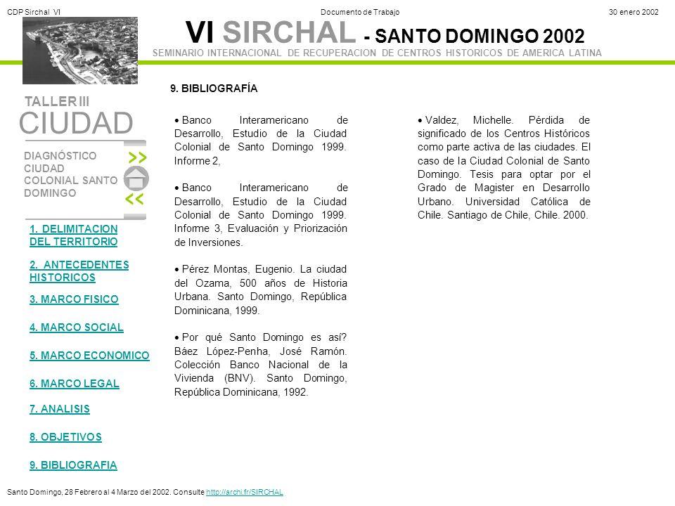 9. BIBLIOGRAFÍA Banco Interamericano de Desarrollo, Estudio de la Ciudad Colonial de Santo Domingo 1999. Informe 2,