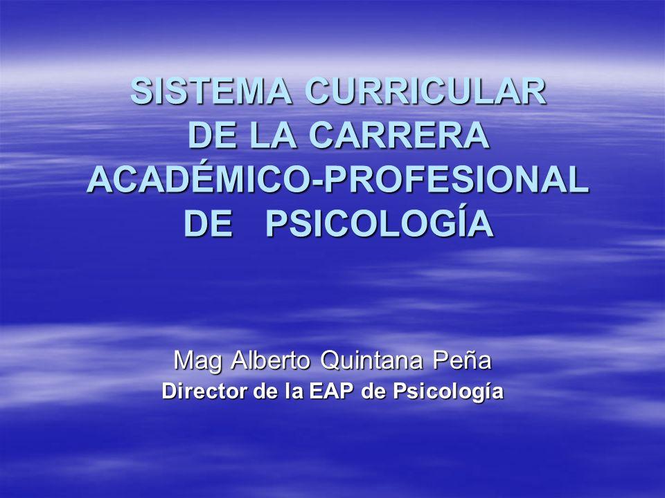 SISTEMA CURRICULAR DE LA CARRERA ACADÉMICO-PROFESIONAL DE PSICOLOGÍA