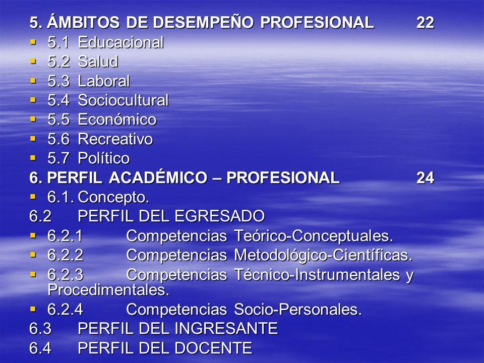 5. ÁMBITOS DE DESEMPEÑO PROFESIONAL 22