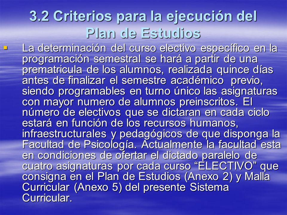3.2 Criterios para la ejecución del Plan de Estudios