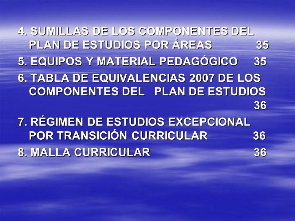 4. SUMILLAS DE LOS COMPONENTES DEL PLAN DE ESTUDIOS POR ÁREAS 35