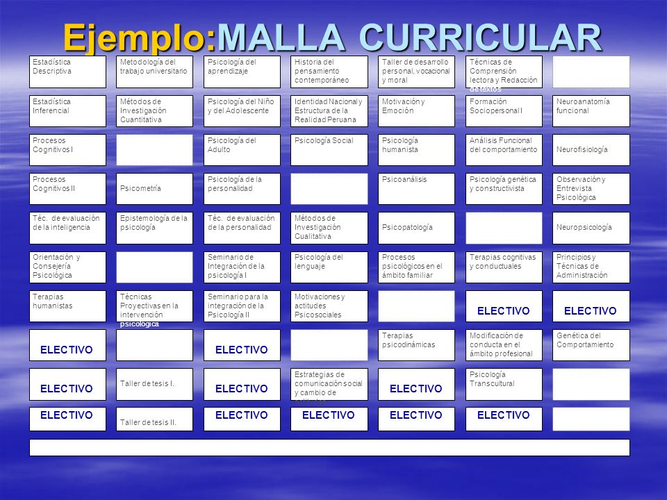 Ejemplo:MALLA CURRICULAR