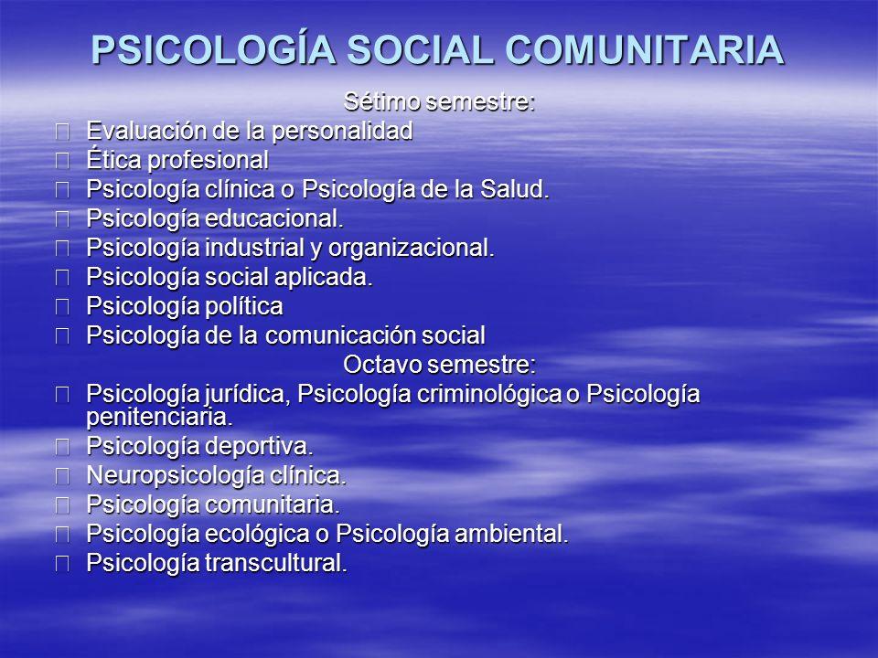 PSICOLOGÍA SOCIAL COMUNITARIA
