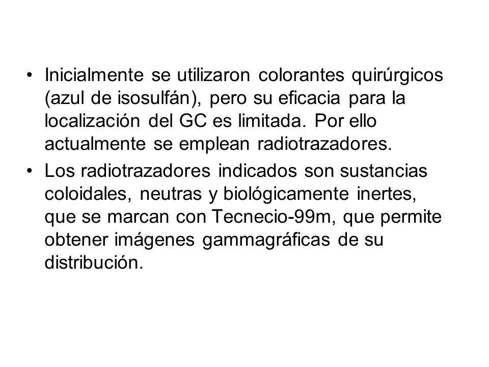 Inicialmente se utilizaron colorantes quirúrgicos (azul de isosulfán), pero su eficacia para la localización del GC es limitada. Por ello actualmente se emplean radiotrazadores.