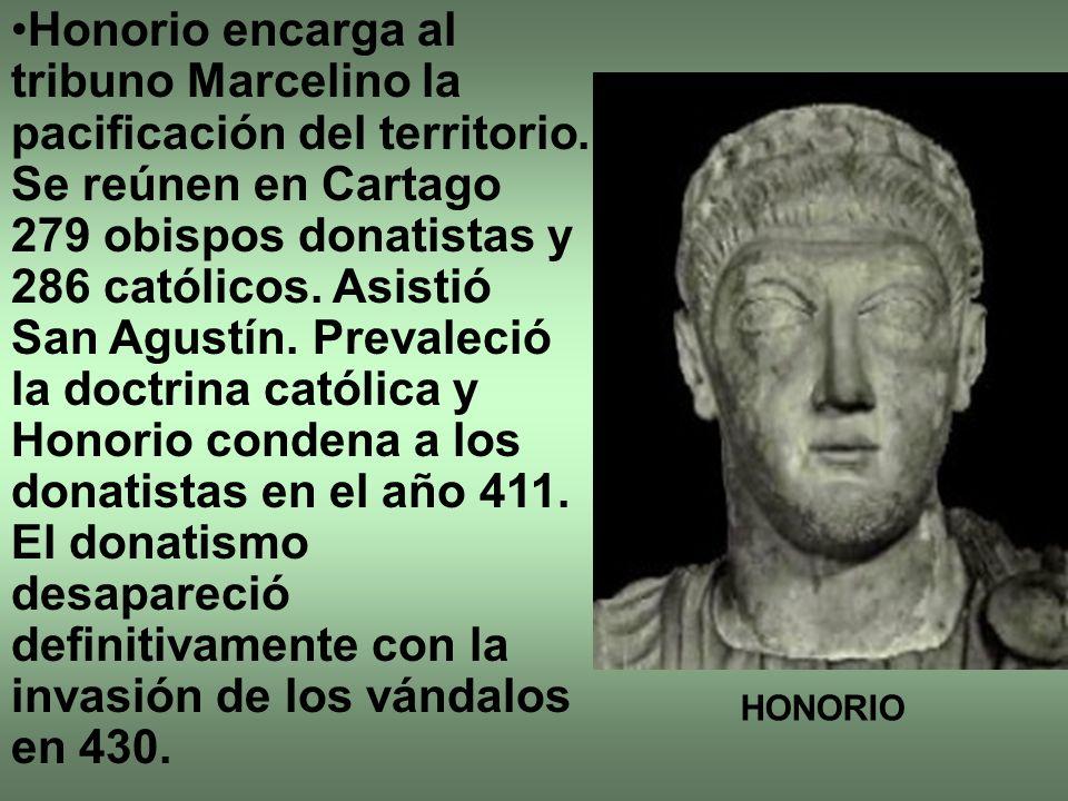 Honorio encarga al tribuno Marcelino la pacificación del territorio