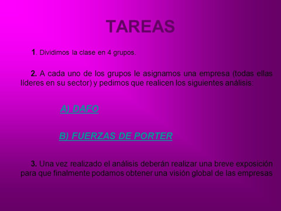 TAREAS A) DAFO B) FUERZAS DE PORTER 1. Dividimos la clase en 4 grupos.
