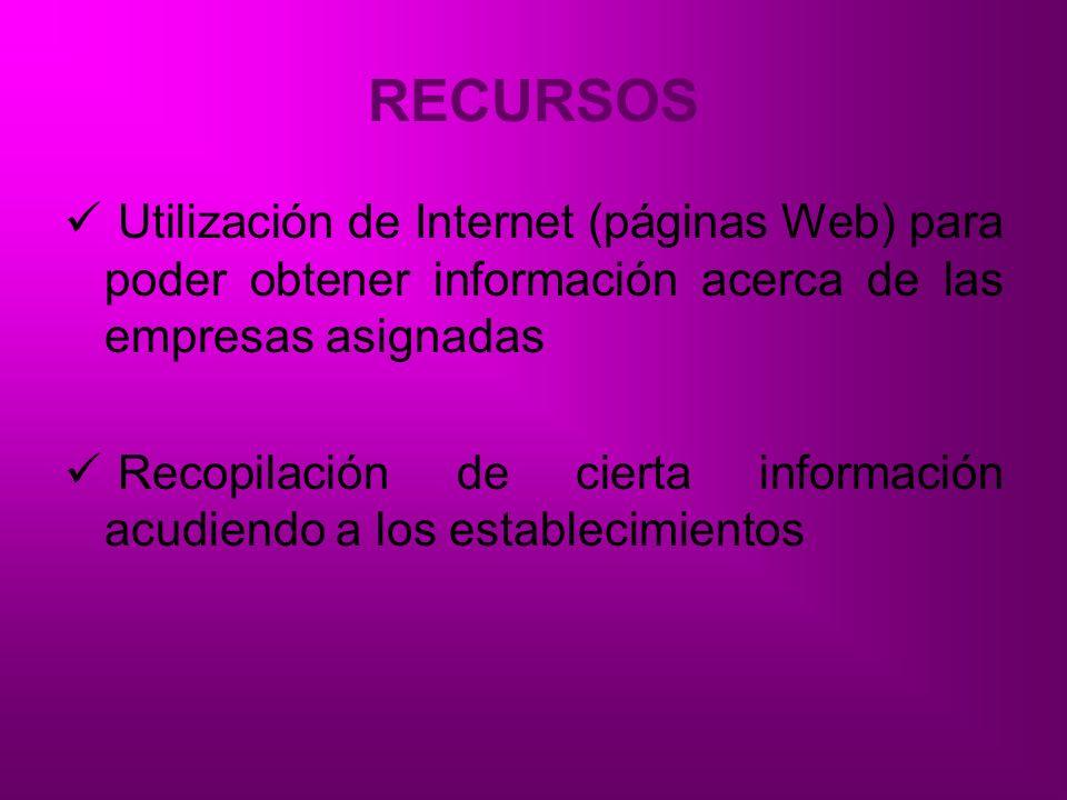 RECURSOS Utilización de Internet (páginas Web) para poder obtener información acerca de las empresas asignadas.