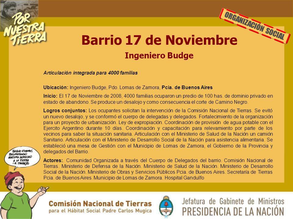 Barrio 17 de Noviembre Ingeniero Budge ORGANIZACIÓN SOCIAL