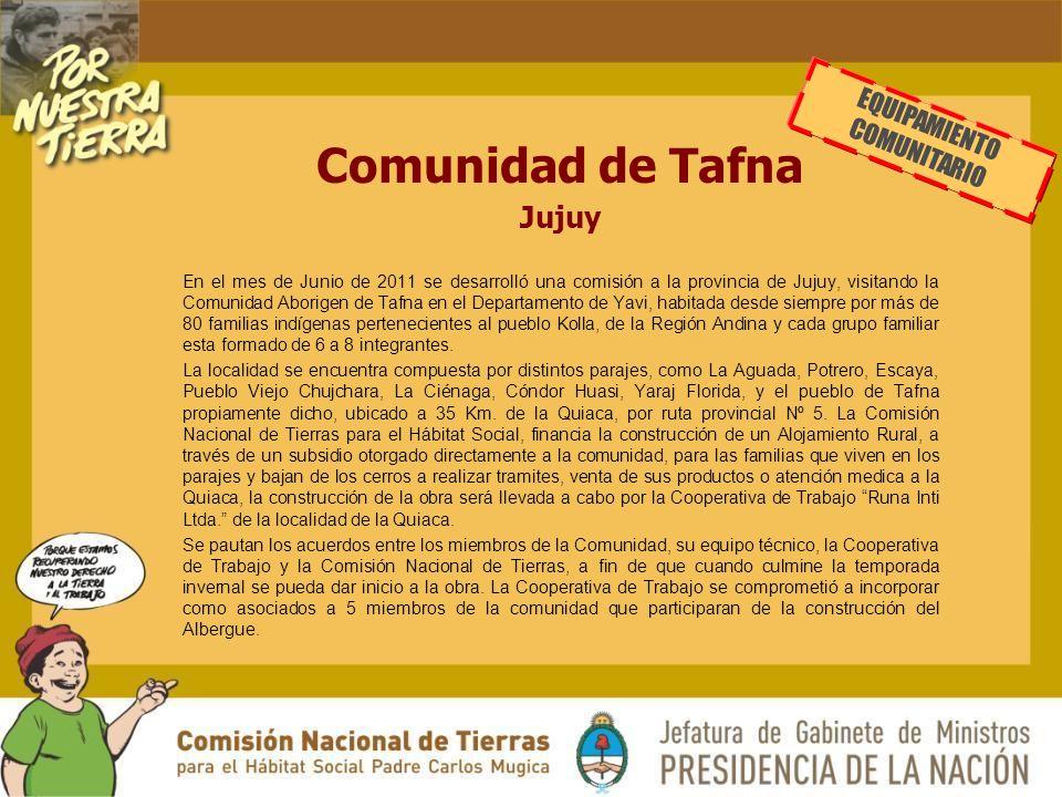 Comunidad de Tafna Jujuy EQUIPAMIENTO COMUNITARIO