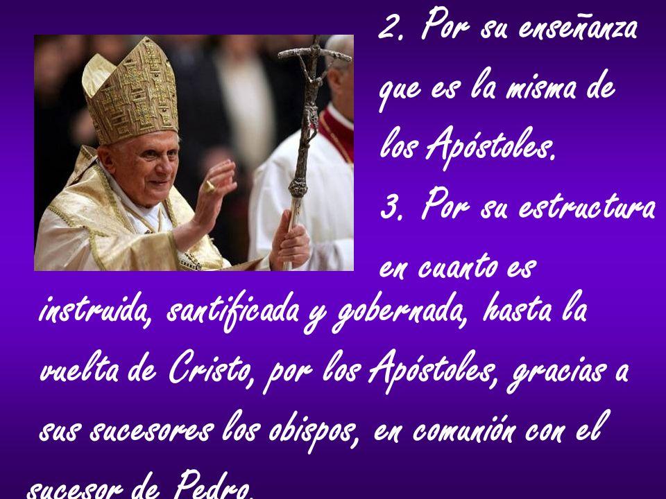 2. Por su enseñanza que es la misma de. los Apóstoles. 3. Por su estructura. en cuanto es. instruida, santificada y gobernada, hasta la.