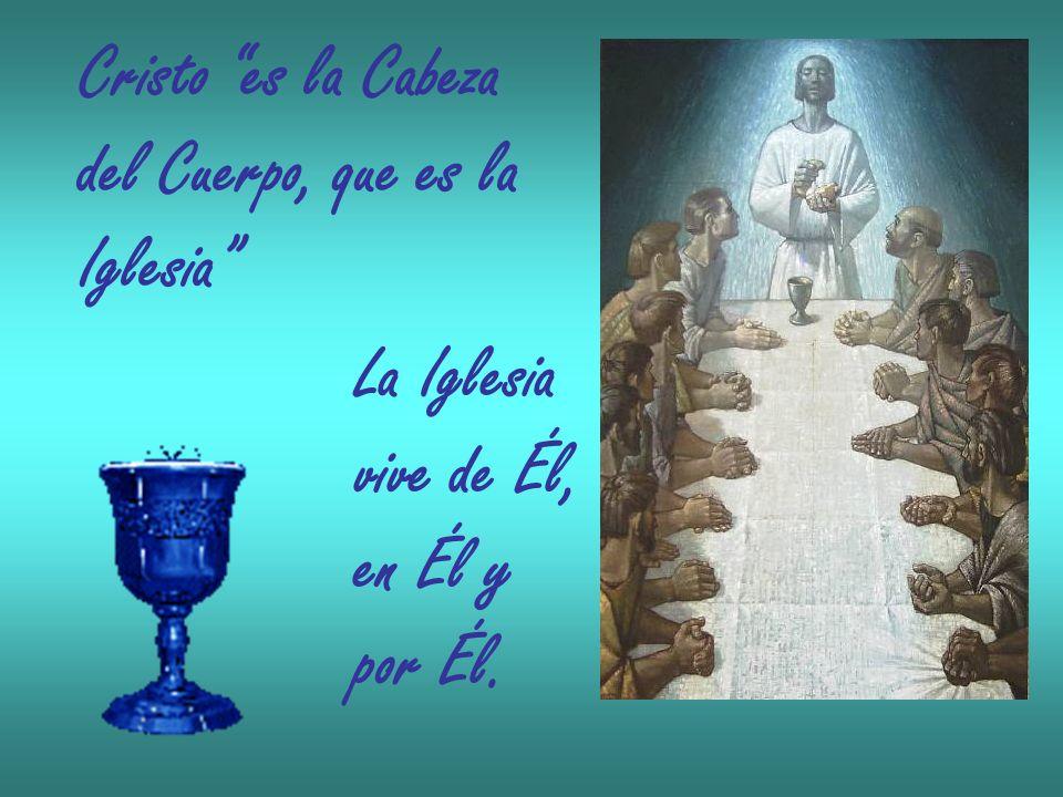 Cristo es la Cabeza del Cuerpo, que es la Iglesia La Iglesia vive de Él, en Él y por Él.
