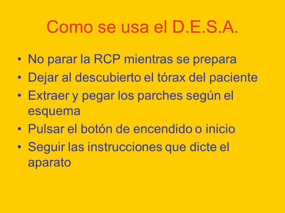 Como se usa el D.E.S.A. No parar la RCP mientras se prepara