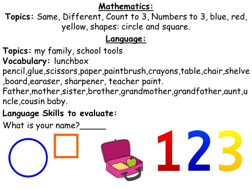 Mathematics: Topics: Same, Different, Count to 3, Numbers to 3, blue, red, yellow, shapes: circle and square.