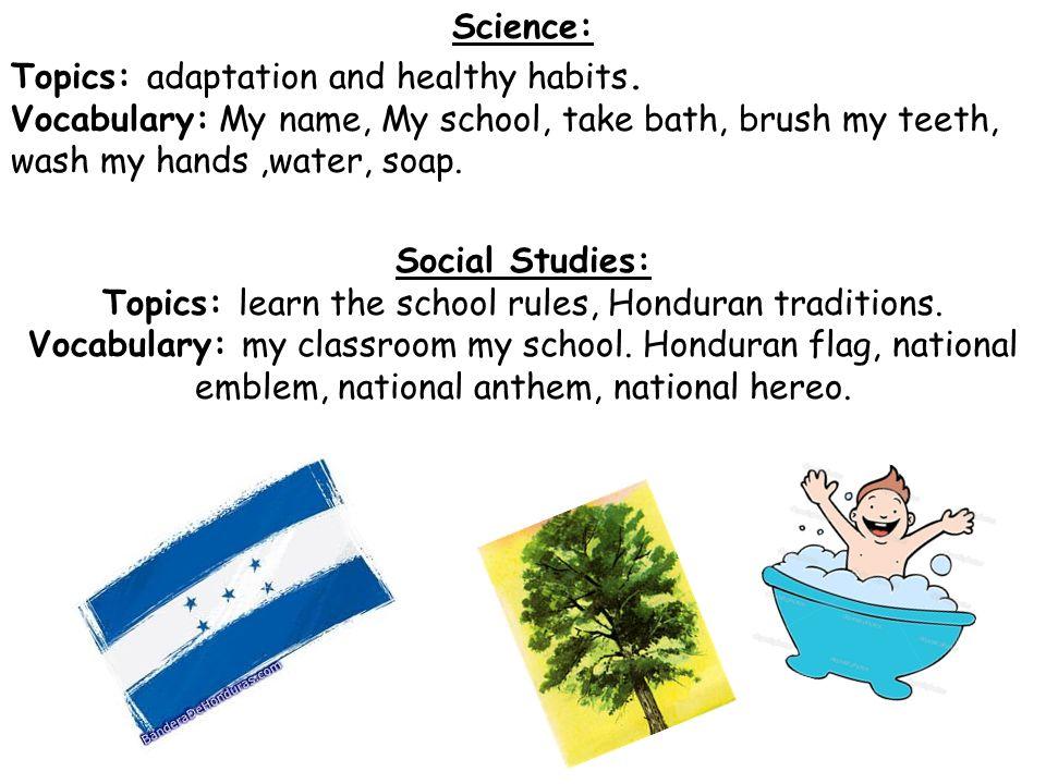 Science: Topics: adaptation and healthy habits
