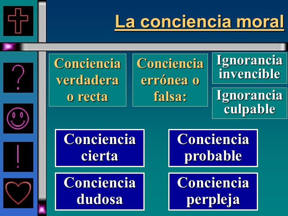 La conciencia moral Conciencia cierta Conciencia probable